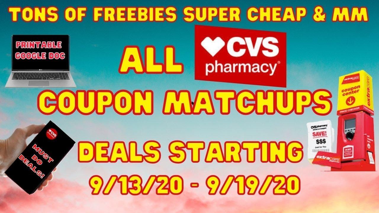 Cvs Coupon Matchups Deals Starting 9 13 9 19 20 Tons Of Freebies Mm Super Cheap At Cvs Youtube