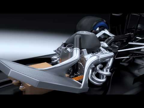 F1 2014 - Mercedes AMG - V6 turbo 3D animation (PU106A Hybrid Power Unit)