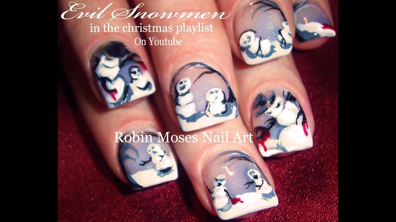 Winter Nail Art Design Evil Snowman Nails Tutorial Youtube