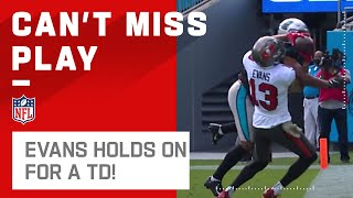 Mike evans makes the leap and manages to hold on ball for a bucs touchdown. tampa bay buccaneers take carolina panthers during week 10 of t...