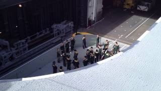 Japan Self-Defense Forces (JSDF) Hyuuga - Military Band on Elevator to flight deck