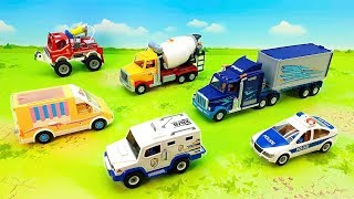 Fire truck Police car Concrete mixer Truck - Vehicles for children.