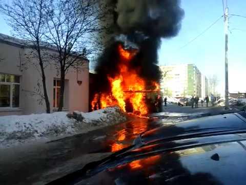 Burning ambulance car.Perm sity.Russia