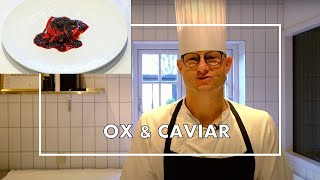 Ox tenderloin &amp Caviar, a signature dish at 1 Michelin star restaurant Søllerød Kro, Denmark