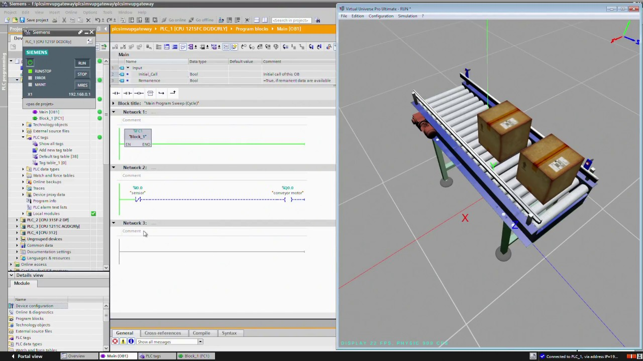 Tutorial  Simulation Of A Conveyor With Plcsim And Tia