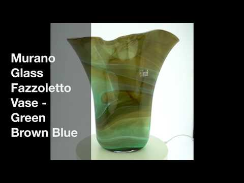 Murano Glass Fazzoletto Vase   Green Brown Blue