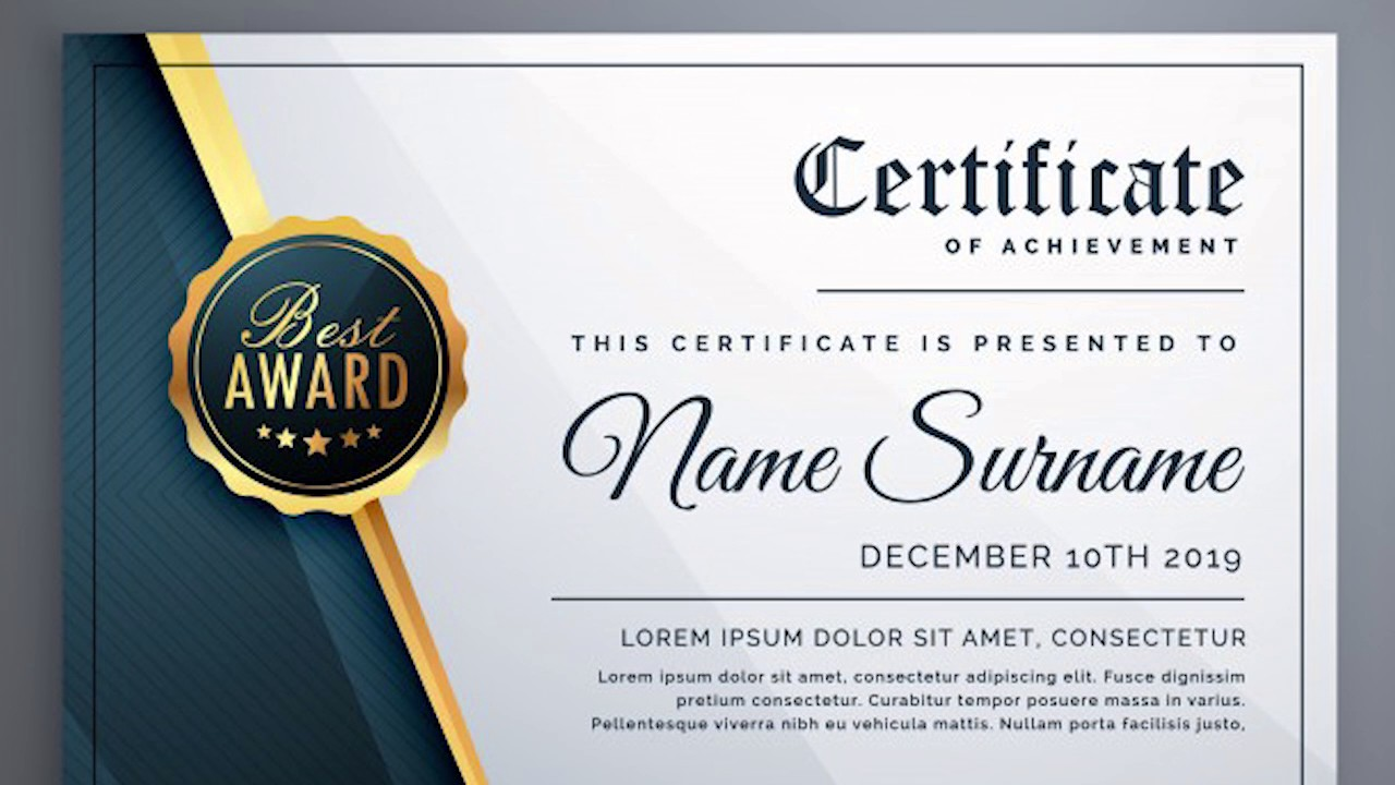 black luxury certificate free photoshop template youtube