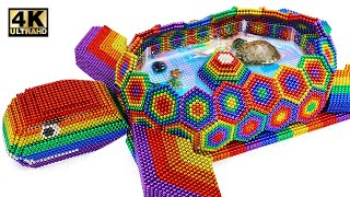 Build Amazing Tortoise Pond For Turtle From Magnetic Balls (Satisfying) | Magnet World Series