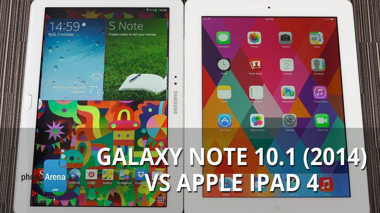 Samsung Galaxy Note 101 2014 Vs Apple IPad 4