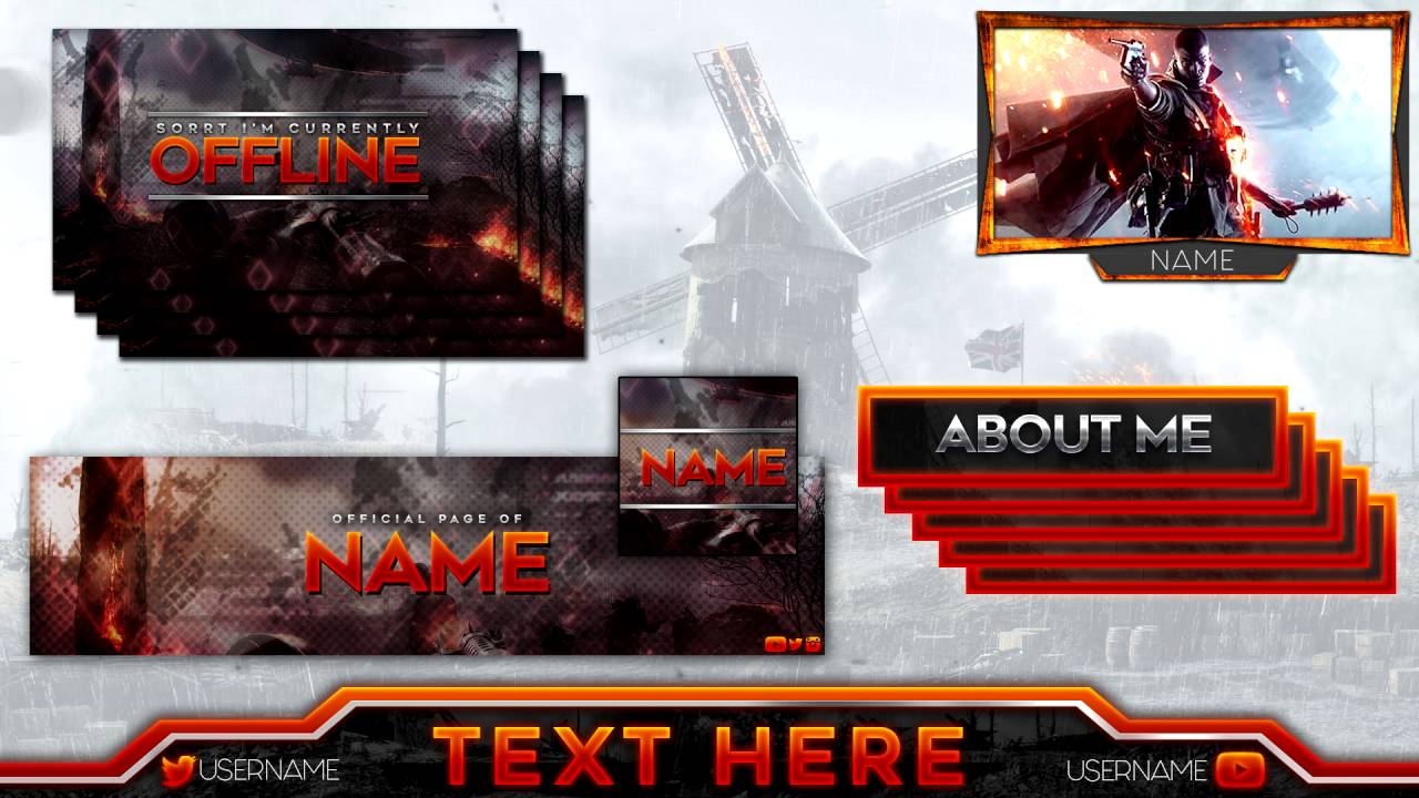 Free Template Battlefield 1 Twitch Gaming Overlay Full
