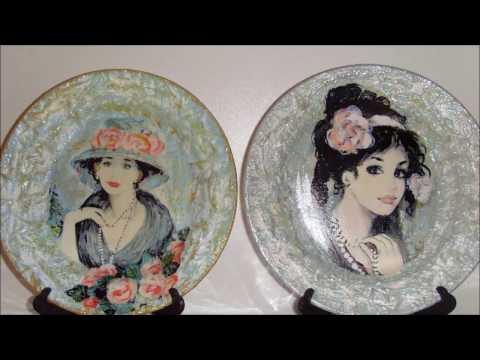 Декупаж тарелок.  Девушки. Подарок на  8 Марта! Decoupage plates. Girls. Present on March 8!