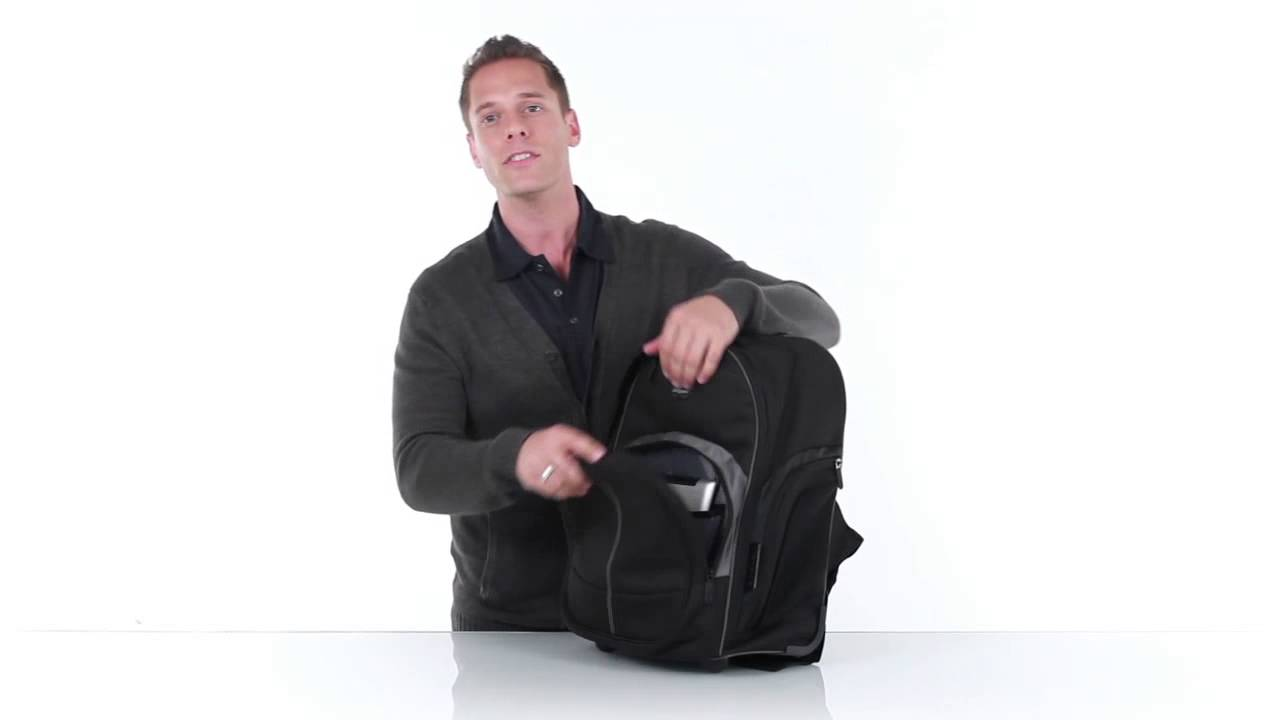 Easily Commute with Targus Compact Rolling Laptop Backpack - YouTube