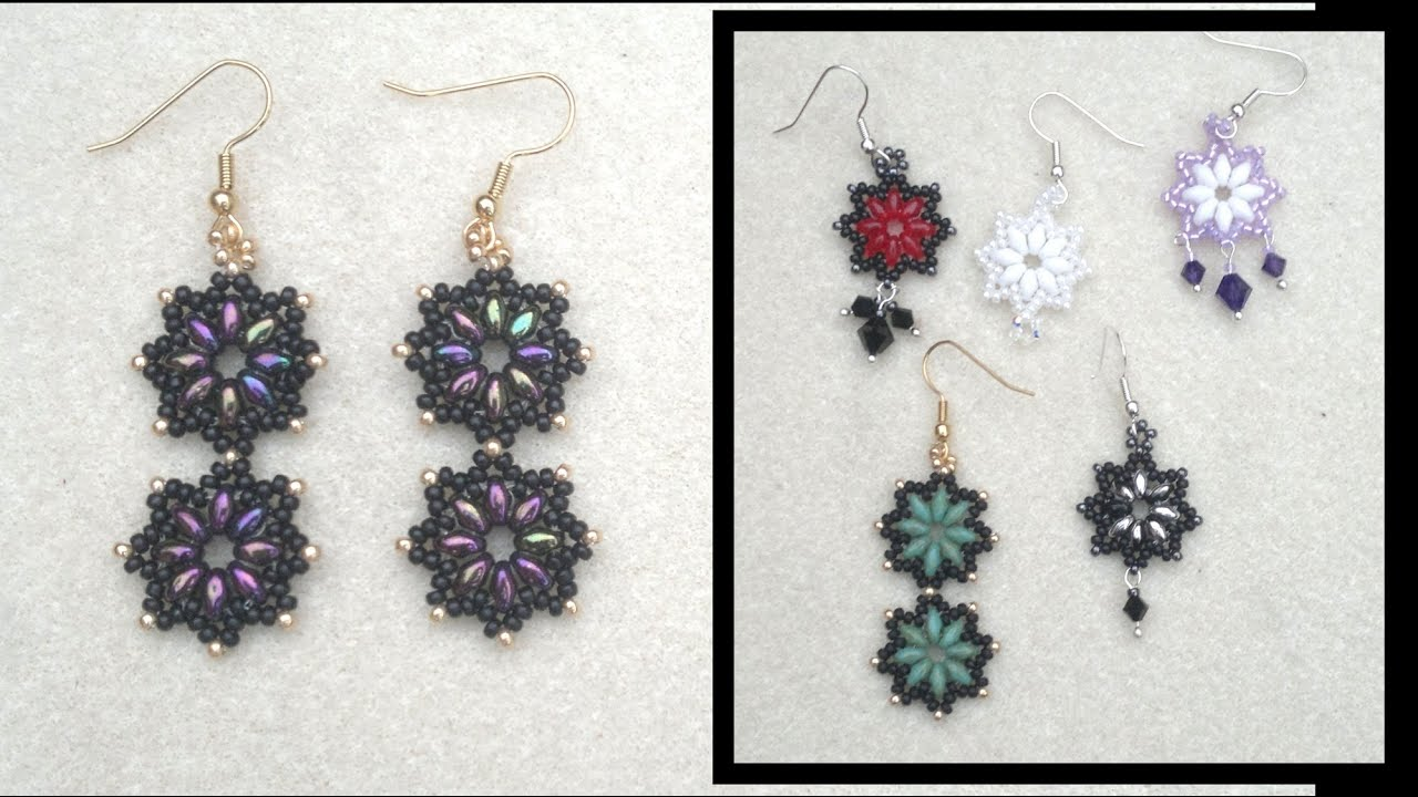 Superduo And Miyuki Seedbead Earrings Beading Tutorial