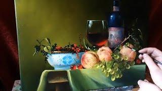 #17 Как нарисовать НАТЮРМОРТ С ФРУКТАМИ. Персики, виноград, стекло маслом | Андрей Бельчев