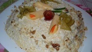 Салат с шампиньонами и курицей. Рецепт
