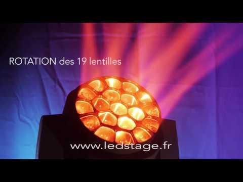 Lyre LED wash RGBW 19 LED Osram  15 Watt avec ZOOM LEDSTAGE