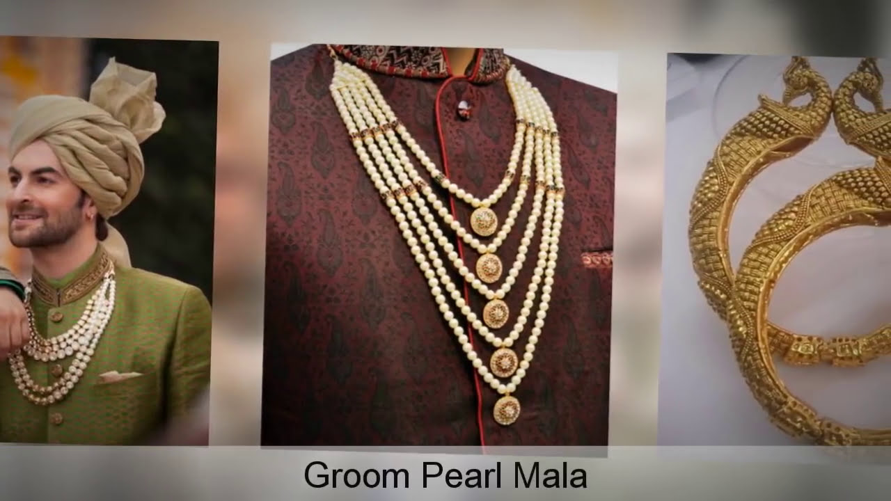 Sherwani Brooch, Pearl Mala