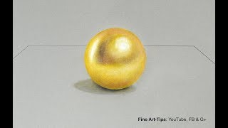 How to Draw a Gold Sphere With Color Pencils - Narrated