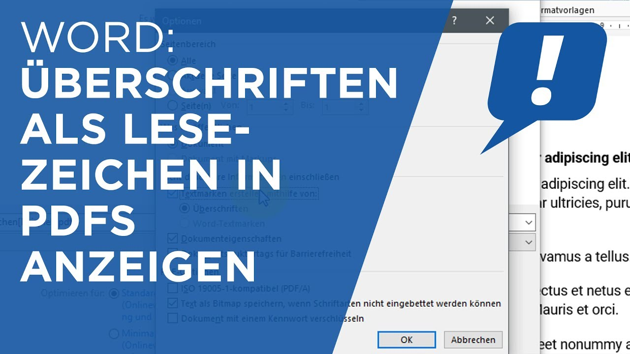 MS Word: Überschriften als Lesezeichen in PDFs - YouTube