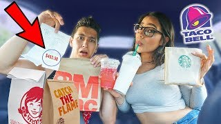 Download Letting The Person In Front Of Us DECIDE What We Eat For 24 HOURS! | Fast Food Challenge Mp3 and Videos