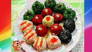 Рецепты сырных шариков 4 начинки -красная икра, крабовые палочки, орехи, огурцы