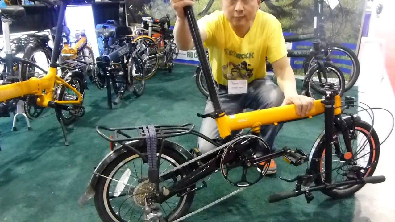 Solorock Aluminum 9 Speed Spin Model Folding Bike Unfolding