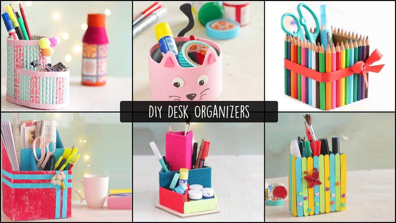 6 Easy DIY Desk Organizers | Cardboard Organizers - YouTube