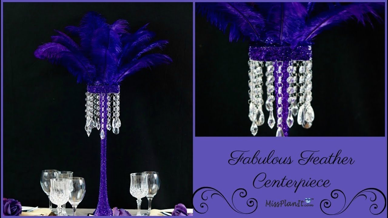 Fabulous tall feather centerpiece diy glam wedding