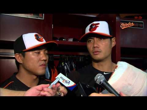 Wei-Yin Chen talks after going eight shutout innings