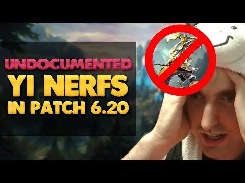 Patch 6.20 - Undocumented Master Yi Nerfs