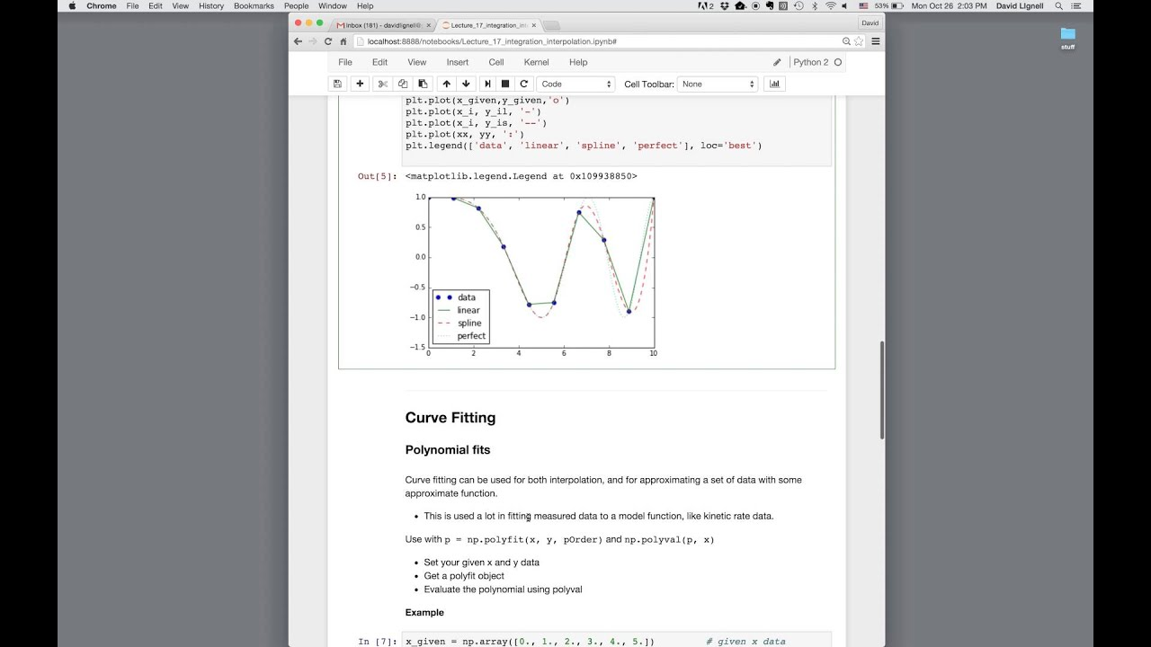 Python Integration, Interpolation, and Curve Fitting