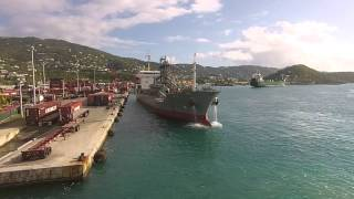 Cargo Ship docking at Tropical dock...