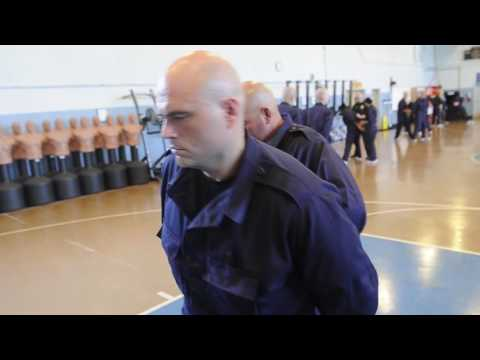 Handcuff training at the Metro Police Academy