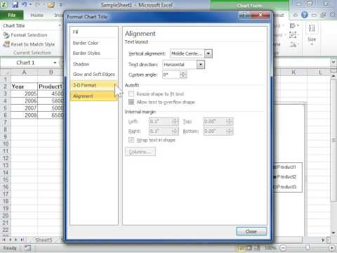 Excel 2010 Rotate Chart Title Text or Axis Text - YouTube