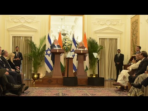 PM Narendra Modi & PM of Israel Netanyahu at Joint Press Sta