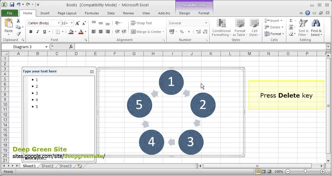 ms excel 2010    how to delete smartart diagram