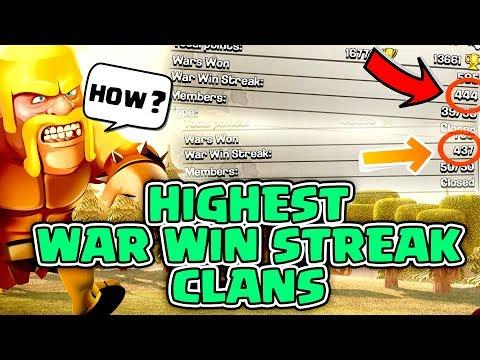 HIGHEST WAR WIN STREAK CLANS   Clash of clans   MUST WATCH !!