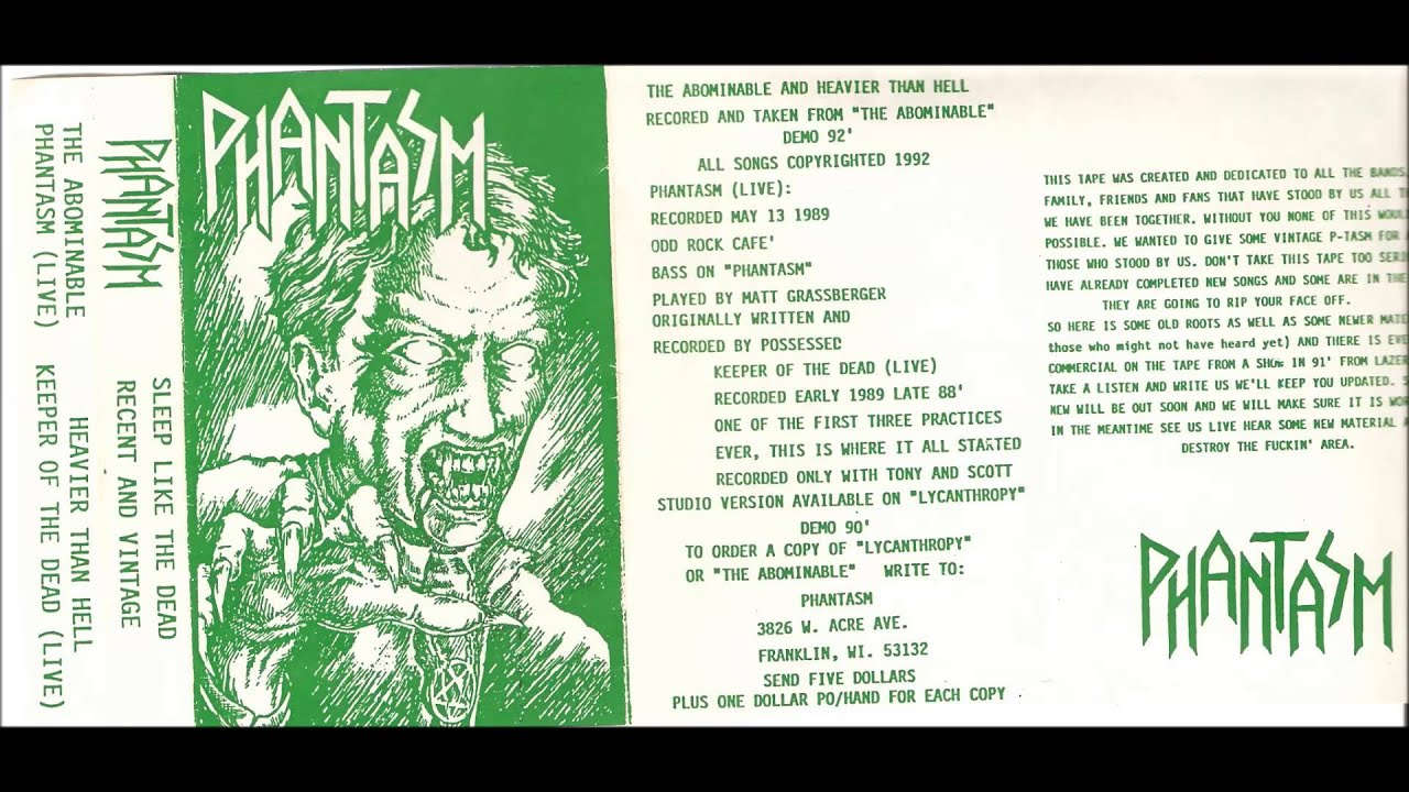 phantasm sleep like the dead recent and vintage tape 1992 youtube