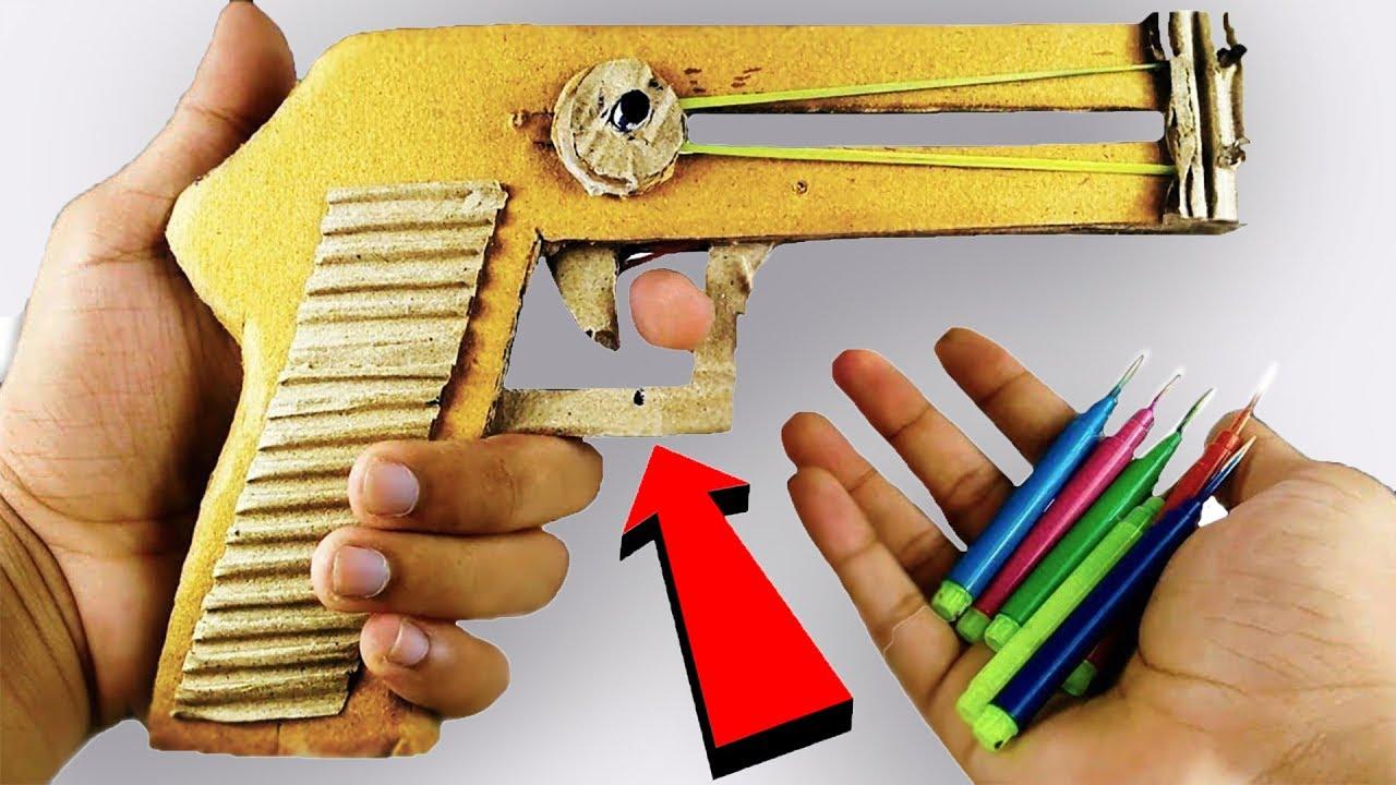 How to make a Cardboard GUN PISTOL that Shoots Bullets ...