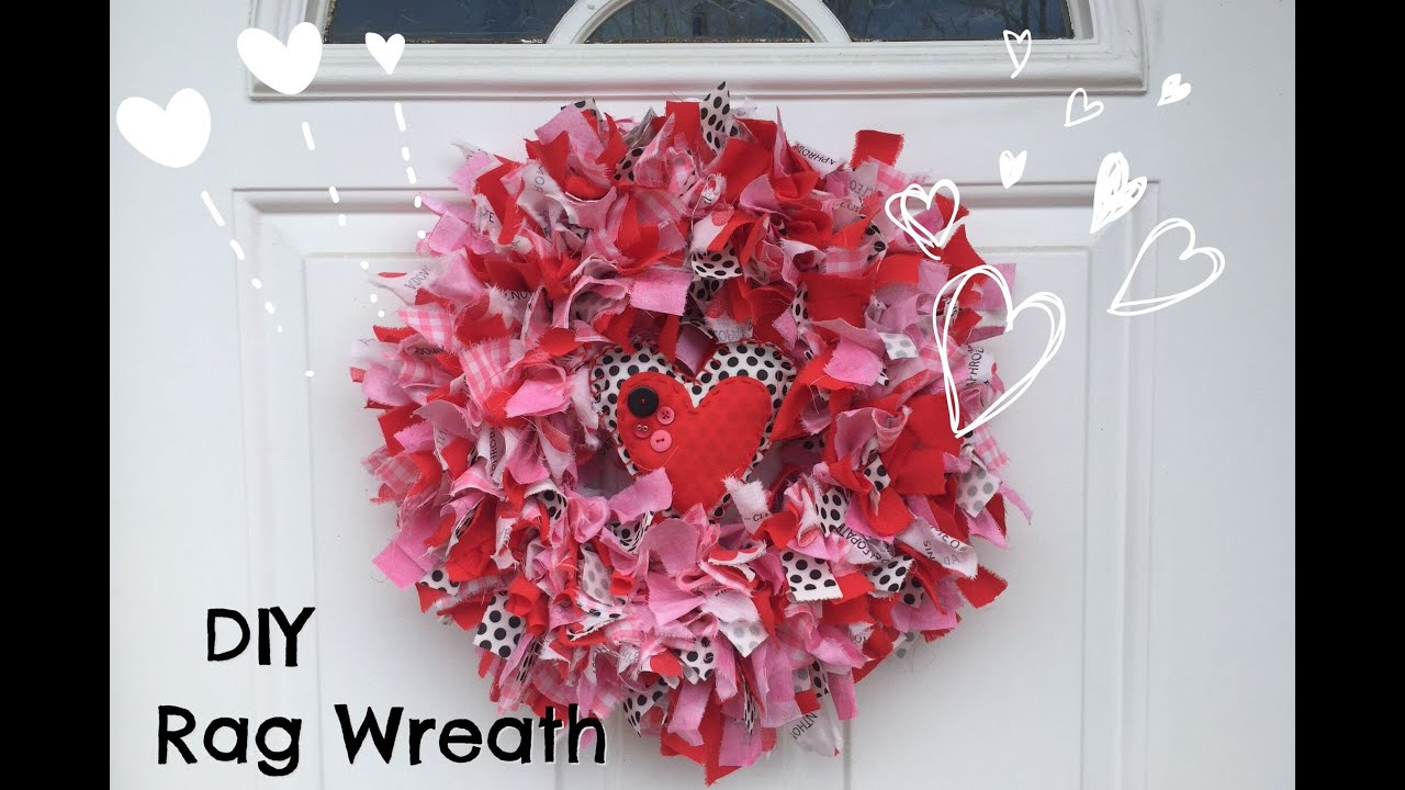 How To Make Rag Wreath Diy Valentines Day Decor Easy Fabric Wreath