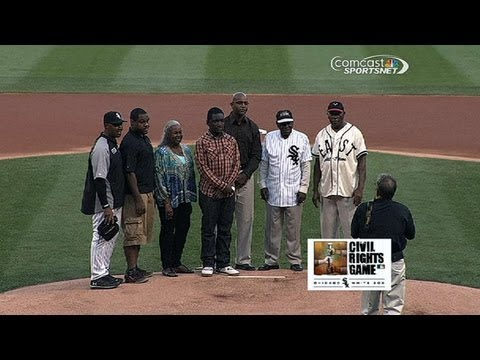 TEX@CWS: First pitch prior to Civil Rights Game