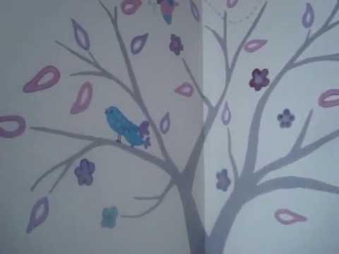 Mural para una ni a youtube for Murales de pared