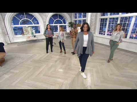 AnyBody French Terry Pants with Paperbag Waist on QVC