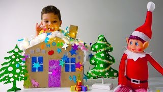 Егорка с Папой Делают DIY Пряничный ДОМИК из КАРТОНА Праздничные Поделки