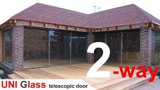 Стеклянные раздвижные двери - телескопическая система telematic.(Телескопические стеклянные раздвижные двери - система telematic. Система позволяет открывать/закрывать две-тр..., 2015-01-18T21:26:30.000Z)