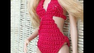 Как Связать Цельный Купальник для Барби. How to Connect One-piece Swimsuit. Купальник Связать