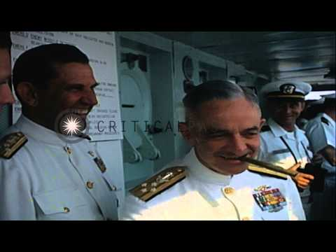 US Navy Admiral John S. McCain Jr. watches the launching of several Navy planes...HD Stock Footage