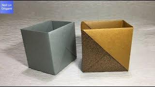簡單摺紙盒子教學 用A4紙製作簡單又實用的收納盒 / 垃圾桶 / 手工折紙DIY