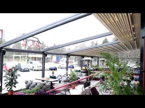Раздвижная крыша террасы ресторана под ключ