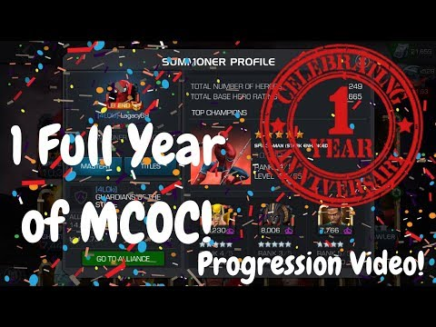 1 Full Year Of MCOC! Progression Video! Account Overview! Marvel Contest Of Champions